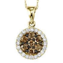 Yellow Gold Brown and White Diamond Pendant 1/2 ctw:NP695Y