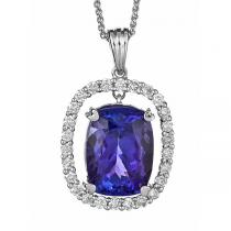 Tanzanite & Diamond  Pendant set in 14K Gold