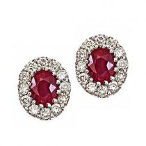 Ruby & Diamond  Earring set in 14K Gold