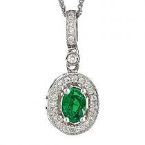 Emerald & Diamond Pendant set in 14K Gold