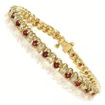 14 K Yellow Gold Diamond & Ruby Bracelet / SB946RYC7
