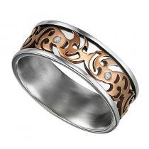 Men's Diamond Ring in Stainless Steel/TS1026