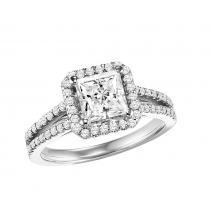 14K White Gold Diamond Semi Mount  ring 1/2 ctw : WB5870E- Semi