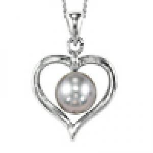 Freshwater Pearl Heart Pendant in Sterling Silver /096PG