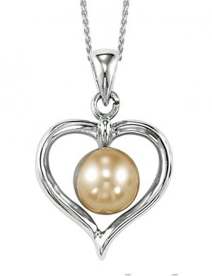 Freshwater Pearl Heart Pendant in Sterling Silver  /096PP