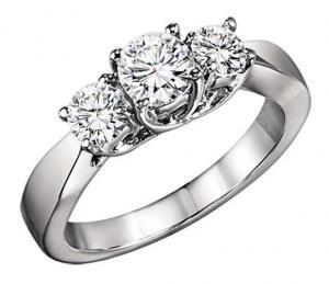 3/4 ctw Three Stone Diamond Ring in 14K White Gold/3C357LW