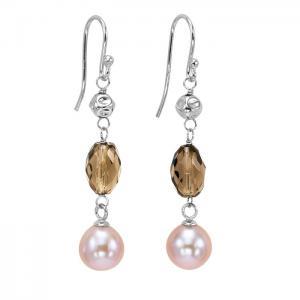 Freshwater Pearl & Smoky Quartz Earrings in Sterling Silver/747SEO1