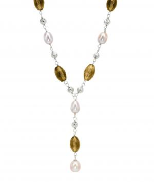 Freshwater Pearl & Smoky Quartz Necklace in Sterling Silver/747SNO1