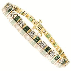 14K Gold Diamond & Emerald Breacelet:B100EYC