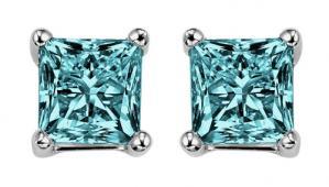Gold Blue Diamond P/Cut  Studs 1/4 ctw/BLPC6025
