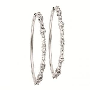 Silver  Diamond Earrings 1/2 ctw : FE1168