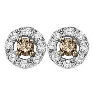 Silver Brown Diamond Earrings 1/3 ctw / FE1174