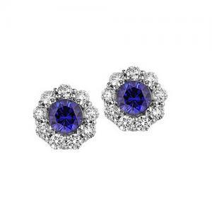 Sapphire & Diamond Earrings in 14K White Gold