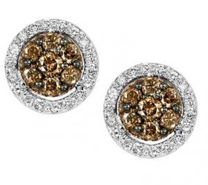 3/8 ctw Brown & White Diamond Earrings in 14K White Gold / FE4076