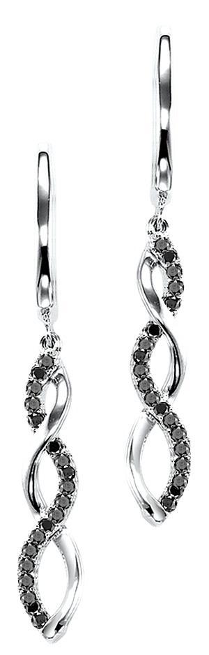 Silver & Black Diamond Earrings/FE4078