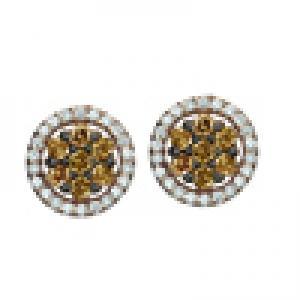 1/2 ctw Brown & White Diamond Earrings in 14K Rose Gold / FE4081P
