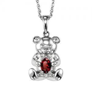 Silver Garnet Birthstone Pendant