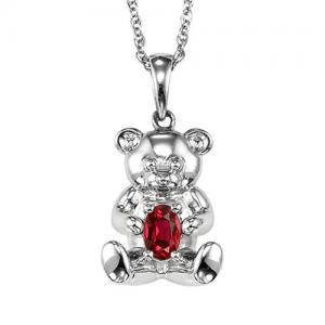 Silver Ruby Birthstone Pendant