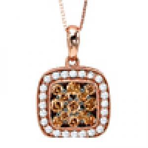 Brown and White Diamond Pendant 5/8 ctw:FP4097P
