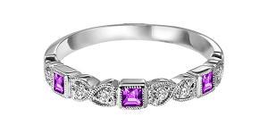 Ruby & Diamond Ring in 10K White Gold / FR1030