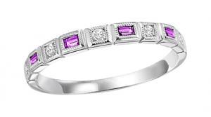 Ruby & Diamond Ring in 10K White Gold / FR1032