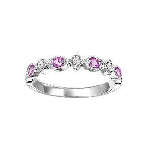 Pink Sapphire & Diamond Ring in 10K White Gold /FR1037