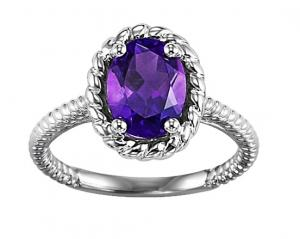 Amethyst Ring in 10K White Gold /FR4032
