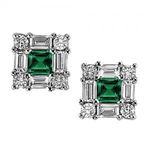 Emerald  & Diamond Earring set in 14K Gold