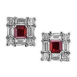Ruby & Diamond  Earring set in 14K Gold