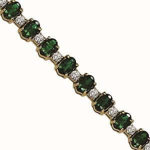 14K White Gold Diamond & Emerald Bracelet  / JB2417WEC6