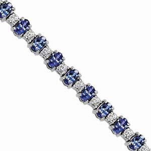 14K White Gold Diamond & Tanzanite Bracelet / JB2417WTC