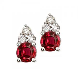 Ruby & Diamond Earrings set in 14K Gold