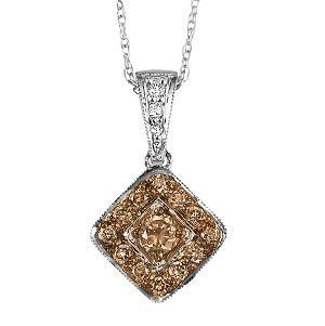 1/4 ctw Brown and White diamond Pendant. / NP641