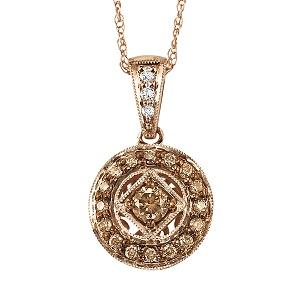 1/4 ctw Brown and White diamond Pendant. / NP642