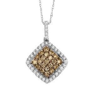 10K White Gold 1/3 ctw Brown and White diamond Pendant./NP646-10W
