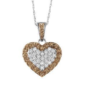 10K White Gold 1/2 ctw Brown and White diamond Pendant./NP648