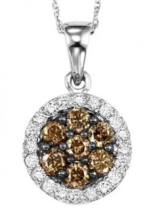 White Gold Brown and white Diamond Pendant 3/4 ctw:NP668W