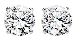 3/4 ctw Diamond Solitaire Earrings in 14K White Gold / SE3070FW