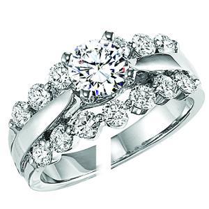 White Gold Diamond Semi Mount  ring 1/2 ctw :WB5783E-Semi
